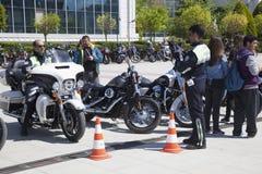 Happy driver riding Harley Davidson. Antalya, Turkey - May 21, 2017: Antalya, Harley Davidson motor convoys on the road. Festival name is Antalya Rally, Demo Royalty Free Stock Images