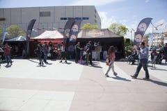 Happy driver riding Harley Davidson. Antalya, Turkey - May 21, 2017: Antalya, Harley Davidson motor convoys on the road. Festival name is Antalya Rally, Demo Royalty Free Stock Photo