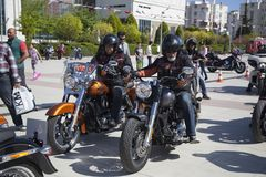 Happy driver riding Harley Davidson. Antalya, Turkey - May 21, 2017: Antalya, Harley Davidson motor convoys on the road. Festival name is Antalya Rally, Demo Stock Image