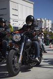 Happy driver riding Harley Davidson. Antalya, Turkey - May 21, 2017: Antalya, Harley Davidson motor convoys on the road. Festival name is Antalya Rally, Demo Royalty Free Stock Photos