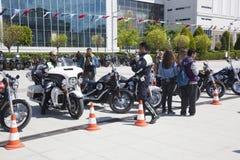 Happy driver riding Harley Davidson. Antalya, Turkey - May 21, 2017: Antalya, Harley Davidson motor convoys on the road. Festival name is Antalya Rally, Demo Stock Photos
