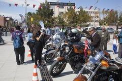 Happy driver riding Harley Davidson. Antalya, Turkey - May 21, 2017: Antalya, Harley Davidson motor convoys on the road. Festival name is Antalya Rally, Demo Royalty Free Stock Image