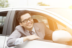 Happy driver on the road Stock Images