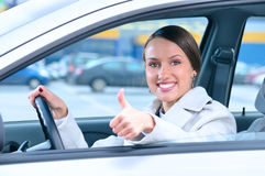 Happy driver is showing a thumb Royalty Free Stock Images