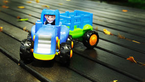 Happy driver. Toy truck happy smile fun Royalty Free Stock Photo