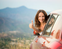 Happy driver woman on summer vacation Royalty Free Stock Photo