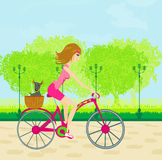 Happy Driving Bike with Cute Girl Stock Photos