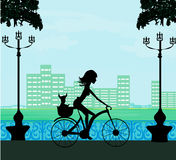 Happy Driving Bike with Cute Girl Stock Photo