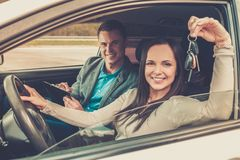 Happy driving student Stock Images