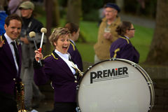 Happy drummer girl. Drummers at the Saddleworth Brass Band Contest on the 28th of May, 2010 Stock Photos