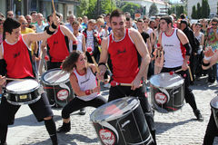 Happy drummers on street Stock Photo
