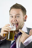 Happy Drunk and Pointing Office Worker Stock Image