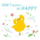 Happy duck dance cartoon  Stock Photography