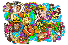 Happy Durga Puja doodle drawing Stock Images