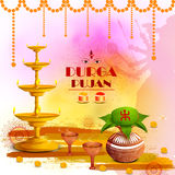 Happy Durga Puja festival background for India holiday Dussehra. Vector illustration of Happy Durga Puja festival background for India holiday Dussehra Stock Images