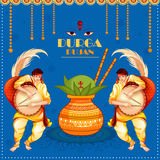 Happy Durga Puja festival background for India holiday Dussehra. Vector illustration of Happy Durga Puja festival background for India holiday Dussehra Stock Image