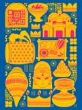 Happy Durga Puja festival background kitsch art India Royalty Free Stock Photos