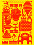 Happy Durga Puja festival background kitsch art India Stock Photography