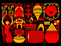 Happy Durga Puja festival background kitsch art India Stock Photography