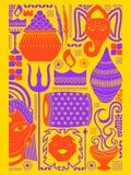 Happy Durga Puja festival background kitsch art India Stock Photo