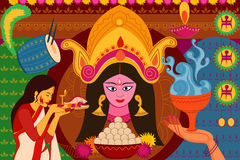 Happy Durga Puja festival background kitsch art India Stock Images