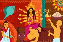 Happy Durga Puja festival background kitsch art India Royalty Free Stock Image