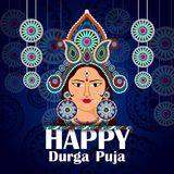Happy Durga Puja India festival holiday background. Easy to edit vector illustration of Happy Durga Puja India festival holiday background Stock Images