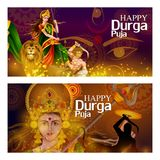 Happy Durga Puja India festival holiday background. Easy to edit vector illustration of Happy Durga Puja India festival holiday background Stock Photo