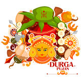 Happy Durga Puja India festival holiday background. Easy to edit vector illustration of Happy Durga Puja India festival holiday doodle background Royalty Free Stock Image