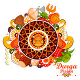 Happy Durga Puja India festival holiday background. Easy to edit vector illustration of Happy Durga Puja India festival holiday doodle background Stock Photo
