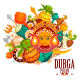 Happy Durga Puja India festival holiday background. Easy to edit vector illustration of Happy Durga Puja India festival holiday doodle background Stock Images