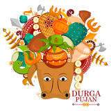 Happy Durga Puja India festival holiday background. Easy to edit vector illustration of Happy Durga Puja India festival holiday doodle background Royalty Free Stock Photography