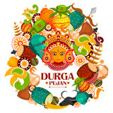 Happy Durga Puja India festival holiday background. Easy to edit vector illustration of Happy Durga Puja India festival holiday doodle background Royalty Free Stock Photo
