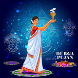 Happy Durga Puja India festival holiday background. Easy to edit vector illustration of ladies dancing with dhunuchi for Happy Durga Puja India festival holiday Stock Photos