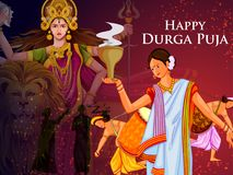 Happy Durga Puja India festival holiday background. Easy to edit vector illustration of ladies dancing with dhunuchi for Happy Durga Puja India festival holiday Royalty Free Stock Photography