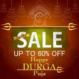 Happy Durga Puja India festival holiday Sale Offer advertisement background Stock Photo