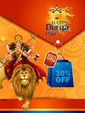 Happy Durga Puja India festival holiday Sale Offer advertisement background. Easy to edit vector illustration of Happy Durga Puja India festival holiday Sale Stock Photos