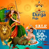 Happy Durga Puja India festival holiday Sale Offer advertisement background. Easy to edit vector illustration of Happy Durga Puja India festival holiday Sale Stock Photography