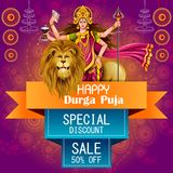 Happy Durga Puja India festival holiday Sale Offer advertisement background. Easy to edit vector illustration of Happy Durga Puja India festival holiday Sale Stock Image
