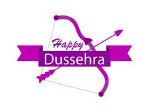 Happy Dussehra. Bow and arrow. Holiday symbols of the Indian holiday. Vector. Illustration stock illustration