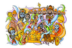 Happy Dussehra doodle drawing for mobile application Stock Images