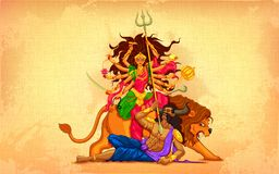 Happy Dussehra with goddess Durga. Illustration of goddess Durga in Subho Bijoya (Happy Dussehra) background stock illustration