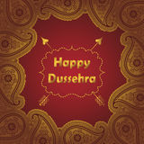 Happy Dussehra.Gold Paisley frame holiday Stock Image