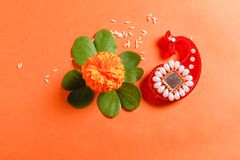 Happy Dussehra greeting card , green leaf. And rice stock image