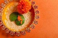 Happy Dussehra greeting card , green leaf. And rice royalty free stock photos