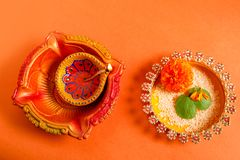 Happy Dussehra greeting card , green leaf. And rice royalty free stock image
