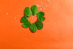 Happy Dussehra greeting card , green leaf. And rice royalty free stock images