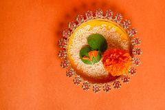 Happy Dussehra greeting card , green leaf. And rice stock photo
