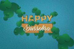 Happy Dussehra greeting card , green leaf. And rice royalty free stock photography