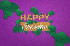 Happy Dussehra greeting card , green leaf. And rice stock photos